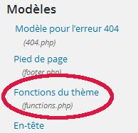 trouver le fichier functions.php